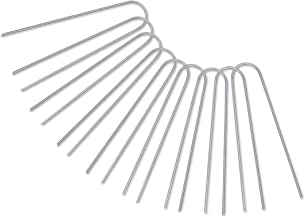 GROWNEER 50 Packs 6 Inches Heavy Duty 12 Gauge Galvanized Steel Garden Stakes Staples Securing Pegs for Securing Weed Fabr...