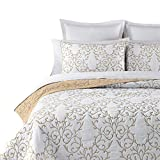 Reversible 100% Cotton 3-Piece Beige Embroidery Pattern Elegant Quilt Set with Embroidered Decorative Shams Soft Bedspread&Coverlet Set-King