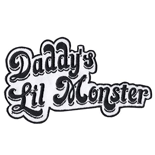 Daddy's Lil Monster Patch Name Tag Badge Iron On Embroidered
