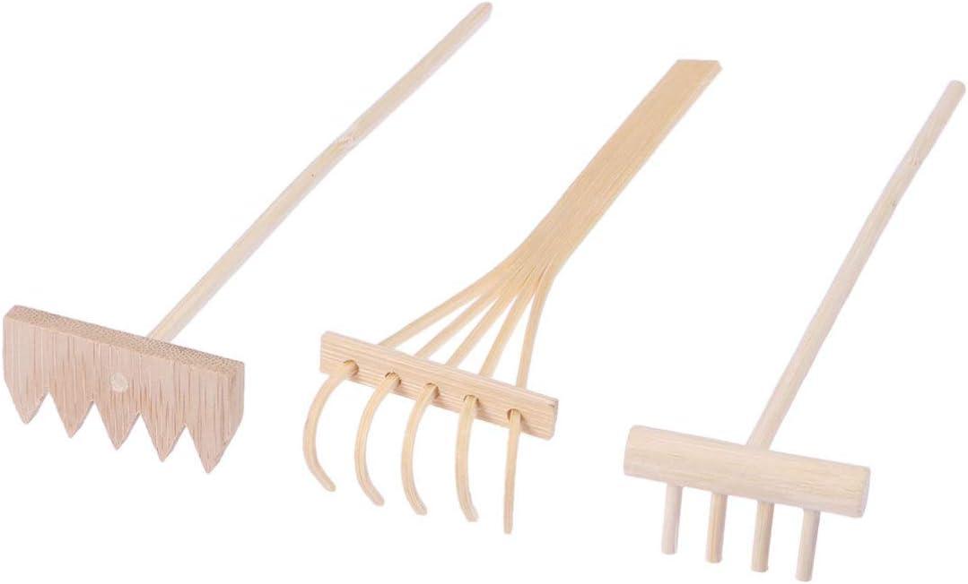 HEALLILY 3 Pcs Mini Zen Garden Rake Tool - Tabletop Meditation Rock Sand Garden Rakes - Wooden Sandbox Sand Play Therapy Toy Accessories