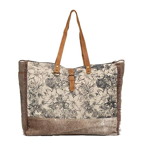 Myra Bag Floweret Upcycled Canvas & Cowhide Leather Weekender Bag S-1274