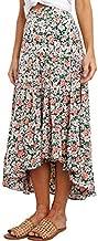 PRETTYGARDEN Women's Bohemian Tie Dye Print Long Skirts Button Down High Waist Split A-Line Maxi Skirt (Floral Black, X-Large)
