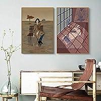 """抽象的な女の子花鹿キャンバス壁アート芸術的な漫画のポスターとプリント部屋の北欧の装飾的な写真19.6""""x27.5""""(50x70cm)x2フレームレス"""