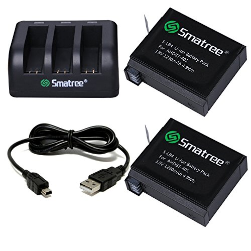 Smatree 1290mAh Replacement Battery Compatible for GoPro Hero4 (Pack of 2) Bundle with 3-Channel Charger and USB Cord