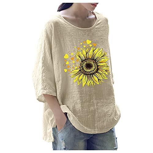 URIBAKY - Camicetta da donna stampata alla moda, con scollo rotondo, top a maniche lunghe, con stampa Streetwear, A-beige., XXL