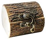 sacfun Casella di Anello Creativo in Legno Artigianato Artigianale Artigianale Rustico Gioielli deposito Supporto Regali di Nozze Personalizzati per Il coinvolgimento
