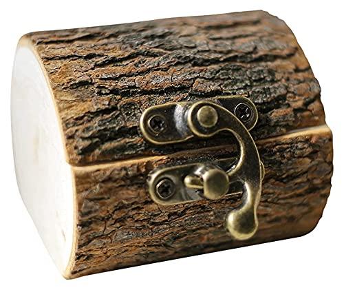 sacfun Caja de Anillos creativos Crafts Hecho a Mano de Madera Holder Rustic Jewelry Soporte de Almacenamiento Personalizado Regalos de Boda para Compromiso