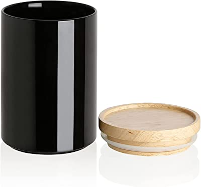 SWEEJAR Kitchen Canisters 58 OZ Ceramic Food Storage Jar, Stackable Containers with Airtight Seal Wooden Lid for Serving Coffee Bean, Flour, Tea, Cookies and More (Black)