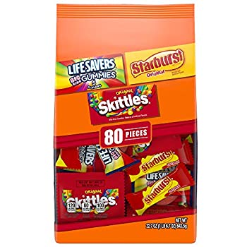 SKITTLES STARBURST & LIFE SAVERS Candy Fun Size Variety Mix 22.7-Ounces 80 Pieces  Packaging may vary