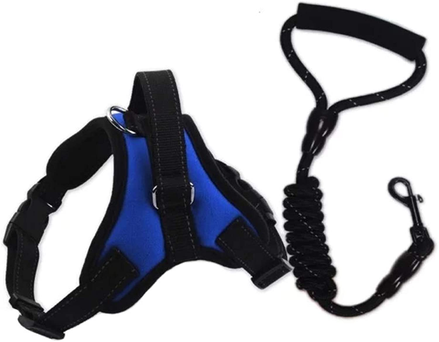 Dog Vest Harness, Pet Chest Strap with Rope Elastic Strap and Multifunction Breathable Fabric Vest for Dogs Training Walking Safety Buffer Traction (color   bluee, Size   S)