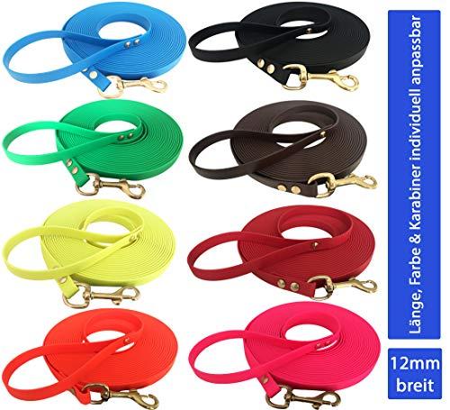 Sehr leichte Welpenleine aus Biothane - 2 bis 15m lang I 12mm breit - Hundeleine Schleppleine für Welpen und kleine Hunde I mit Handschlaufe - in 14 Farben