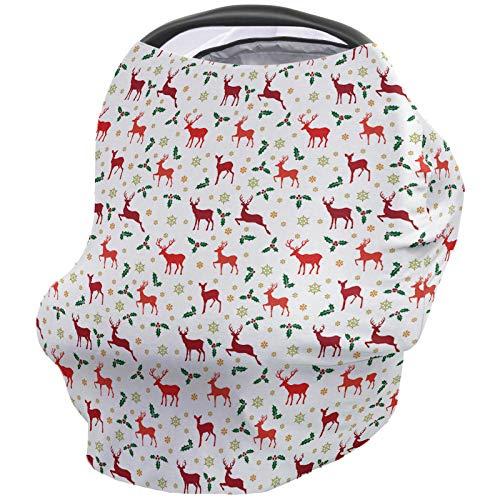 Buy Baby Nursing Cover Breastfeeding Cover Soft Breathable Chemical-Free 360° Coverage, Christmas Nursing Cover for Breastfeeding Protection – Red Reindeer Silhouette Holly Decor