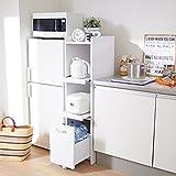 【直送】すき間キッチンラック(C・高さ124cm・食器棚) ブラウン