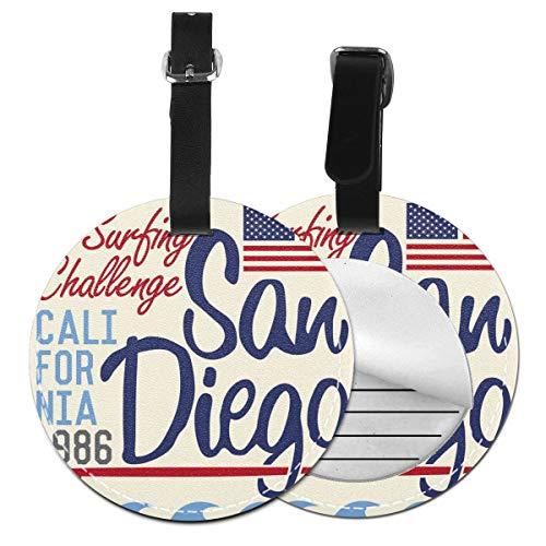 San Diego California - Juego de etiquetas para maleta de piel personalizada, accesorios de viaje, etiquetas redondas para equipaje Negro Negro  4 PCS
