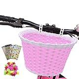 Cesta de bicicleta para niña, cesta de bicicleta para niños con 3 pegatinas de flores de alfabeto y animales, 36 radios de rueda de bicicleta para niños Chirlden regalo DIY Sets - rosa