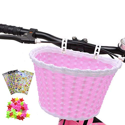 Girl's Bike Basket, Front Handlebar Kid's Bicycle Basket with 3 Pcs Alphabet Flower Animal Stickers, 36 Pcs Bike Wheel Spokes for Kids Chirlden Gift...