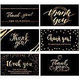 120 Mini Tarjetas de Thank You for Your Order Business Tarjetas de Felicitación de Gracias de Compras a Cliente Tarjetas de Agradecimiento para Empresas, 3,5 x 2 Pulgadas (Tema de Negro y Oro)