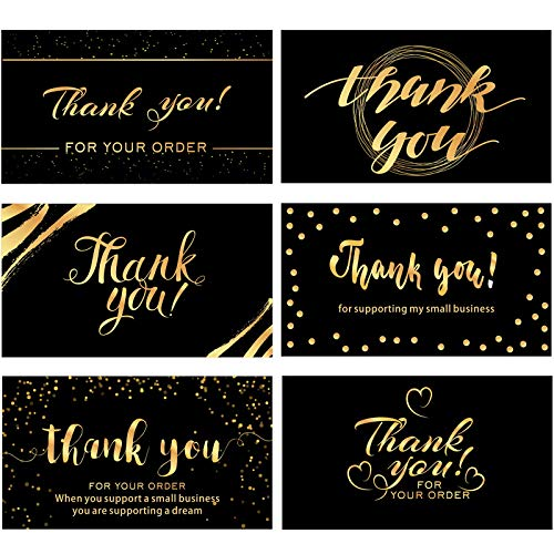 120 Mini Thank You for Your Order Business Cards Shopping Purchase Thanks Greeting Cards to Customer Appreciation Cards for Small Business Owners, 3.5 x 2 Inch (Black and Gold Theme)