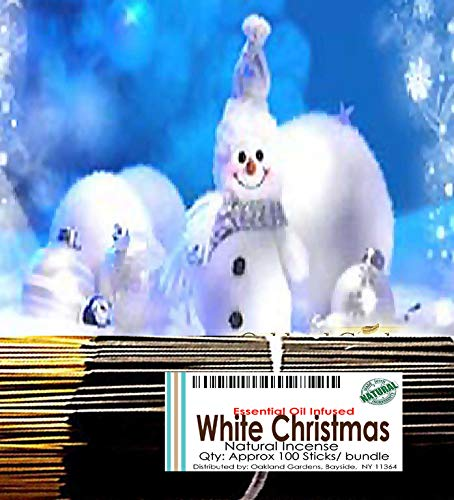 (W) White Christmas Incense - White Christmas Outdoor with sugared Plum, Pine, fir Needles, Cedarwood and eucalpytus - Natural Premium Incense By Oakland Gardens (White Christmas (100 Sticks))