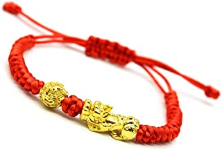 Feng Shui The Best Red String Bracelet with Pi Xiu/Pi Yao and Carved Mantra Golden Good Luck Bead Bracelet Attract Wealth ...