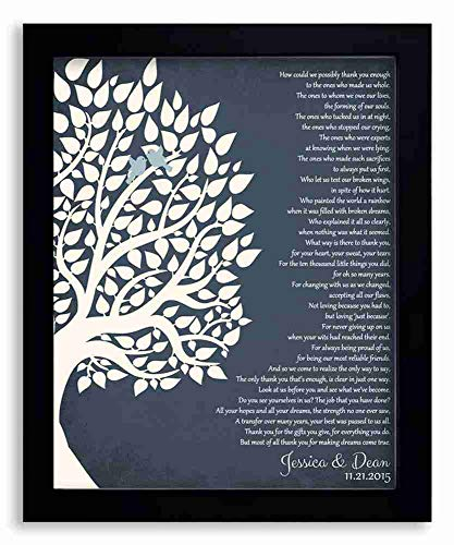 8x10 Framed Art Print - Thank You Gift for Parents Personalized Gift for Mother of Groom or Bride Family Wedding Poem Tree Gift - With Solid Wood Frame & Gift Wrapping LTC-P1132