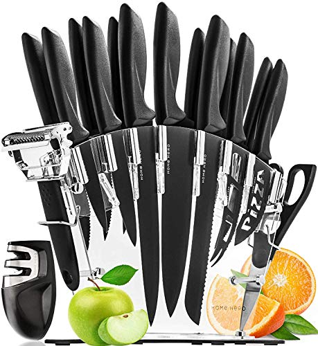 Stainless Steel Knife Set with Block 17 Piece Set Kitchen Knives Set Chef Knife Set with Knife Sharpener, 6 Steak Knives with Bonus Peeler Scissors Cheese Pizza Knife and Acrylic Stand by Home Hero
