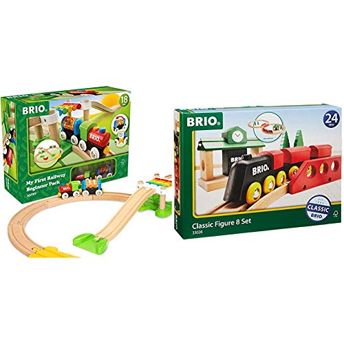 Brio My First Railway – 33727 Beginner Pack & World 33028 - Classic Figure 8 Set - 22 Piece Wood Toy Train Set with Accessories and Wooden Tracks for Kids Age 2 and Up