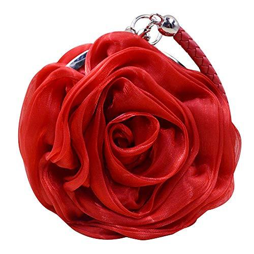 Buddy Women Rose Shaped Clutch Soft Satin Wristlet Handbag, Red, Size One Size