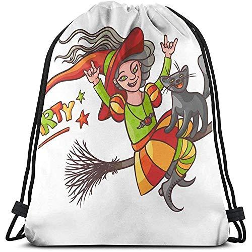 Lemotop Helle glückliche Mädchenhexe auf Besen mit Katze Kordelzug Rucksack Tasche Sport Gym Sackpack Outdoor Travel