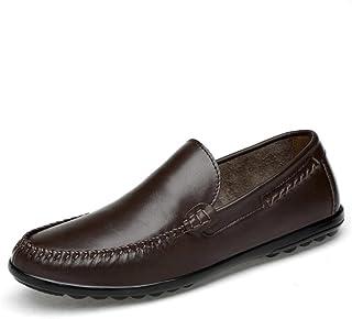 メンズレザーシューズ、メンズブリティッシュビジネスカジュアルシューズ、レジャー通気性怠惰靴、フォーマルなビジネスワークス快適なモカシン、ドライビングシューズ (Color : 褐色, Size : 37)