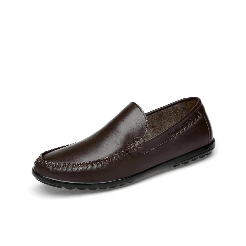 メンズレザーシューズ、メンズブリティッシュビジネスカジュアルシューズ、レジャー通気性怠惰靴、フォーマルなビジネスワークス快適なモカシン、ドライビングシューズ (Color : 褐色, Size : 43)