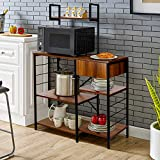 amzdeal Kitchen Bakers Rack with Storage Drawer, 4-Tier Microwave Stand with Glass Holder,...