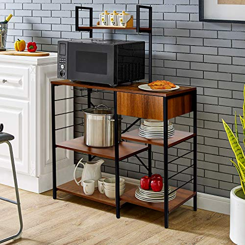 amzdeal Kitchen Bakers Rack with Storage Drawer, 4-Tier...