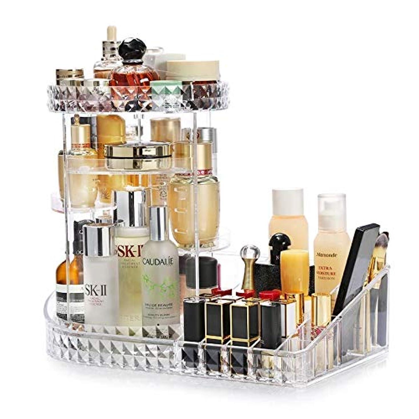 コンピューター階段計算可能CUAFID 化粧品収納 コスメ収納ボックス メイクケース 360度回転 5層ストレージタワー 多機能可調節 アクリル製 透明 (L型)