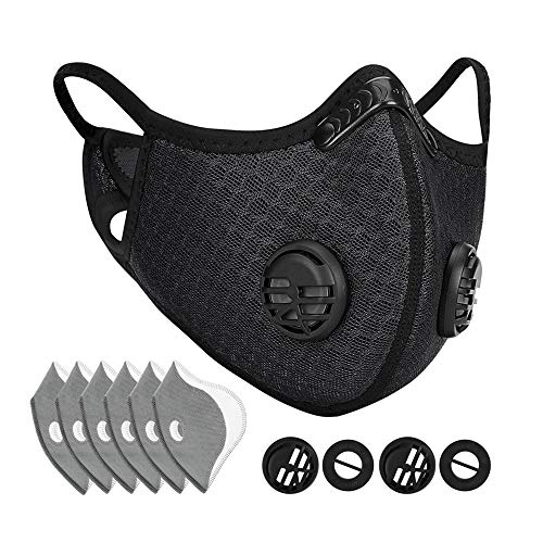 WERTYCITY Dust Mask with 6 Activated Carbon Filters, Dustproof Respirator Breathing Mask for Pollen Allergy Woodworking Mowing Running Cycling Outdoor Activities(Black)