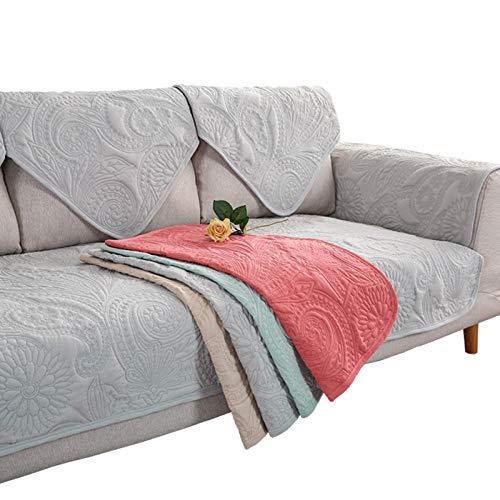 YUTJK Sofabezug Sofaüberwürfe Polyester in winzigen Stücken, Zusammensetzbar für die unterschiedliche Sofas, Baumwollbestickte Sofadecke, für Sommer, Grau