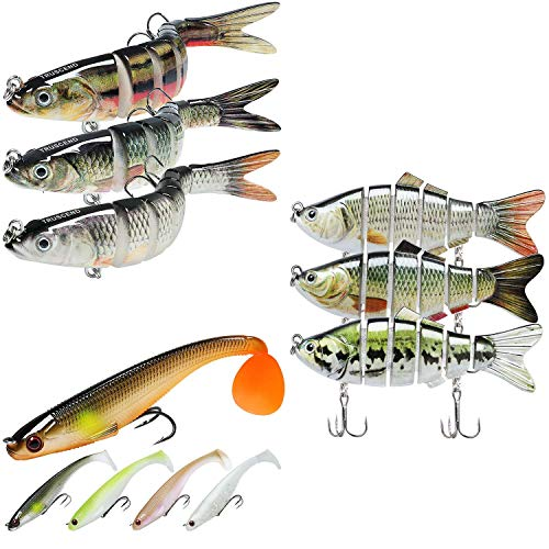 TRUSCEND Fishing Lures for Bass 3.5-5.4' Swimbaits Freshwater Bass Fishing Lures Kits Combination