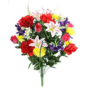 Admired By Nature ABN1B001-SPRING 40 Stems Artificial Full Blooming Lily, Rose Bud, Carnation and Mum with Greenery Mixed Flower Bush, Spring
