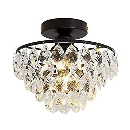 Yunyisujiao Lampada a sospensione in cristallo a LED, lampadario moderno, luce a sospensione a LED lucentezza in cristallo, max. 60 watt (lampadina non inclusa)