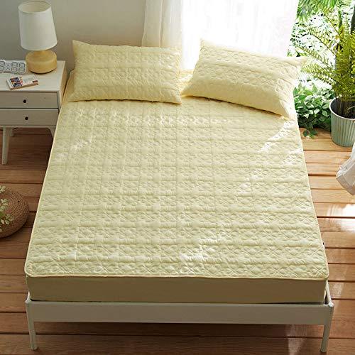 HPPSLT Protector de colchón Acolchado - Microfibra - Transpirable - Funda para colchon estira hasta Sábana de algodón Gruesa Antideslizante Amarilla_180cm × 220cm