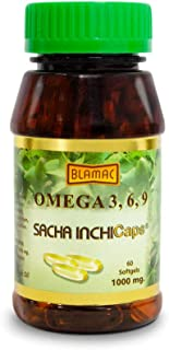 Natural Source of Omega 3,6,9 Softgel caps from Sacha Inchi (60 Capsules - 1000mg) - Much Healthier than Fish Oil and Algae | Source of Ala that elongates DHA EPA | Essential Fatty Acids | Odorless