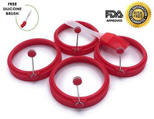 SKIDOOMARINK Silicone Round Egg Rings (Set of 4) Non Stick Pancake Molds with Handle for Stunning Breakfasts Every Time with 1 Free Spray Brush (Red)