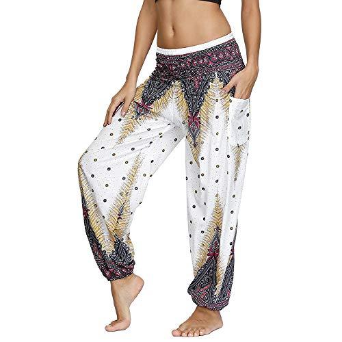 Nuofengkudu Mujer Yoga Pantalones Harem Tailandes Hippies Baggy Vintage Boho Flores Verano Alta Cintura Elastica Casual Danza Pilates Pantalon Pants Bombachos(W-Blanco Pavo,Talla única)
