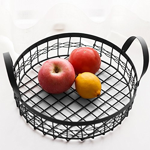 Là Vestmon Noir Métal Fruit Bowl Ronde Rangement Panier Bacs Organisateur avec Poignées pour Cuisine, Cellier, Congélateur, Cabinet, Fil Salle de Bains Étagères Maquillage Organisateur