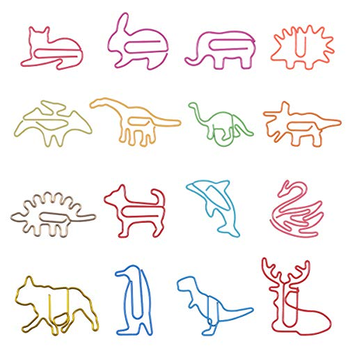 80Pcs Paper Clips for Kids Animal Shaped Paperclip Fun Paper Clips Assorted Colors Paperclip Coated Bookmark Clips Office Supplies for Document Organizing 80 Counts Cute Paper Clips for Students