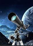 WUAZ Astronómico Profesional telescopio Refractor para Adultos, trípode Ajustable, Travel Scope para observar la Luna y el Planeta 3 Oculares
