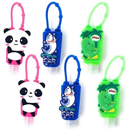 Botellas de Viaje Portátiles para niños,  Contenedor Desinfectante de Manos,  Botellas De Viaje Llavero, Mini Botella de Viaje Vacía para Rellenable Gel 30ml # 6 Piezas (Panda Dinosaurio tiburón)