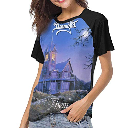 Kmehsv Damen Kurzarm T-Shirts mit Rundhalsausschnitt, King Diamond Women Women's Baseball Short Sleeves Loose Short Sleeve Sport Tee