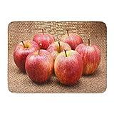 Alfombrilla de baño Fruta Verde Rojo Manzanas Royal Gala Marrón Blanco Deliciosa Agricultura Decoración de baño Alfombra