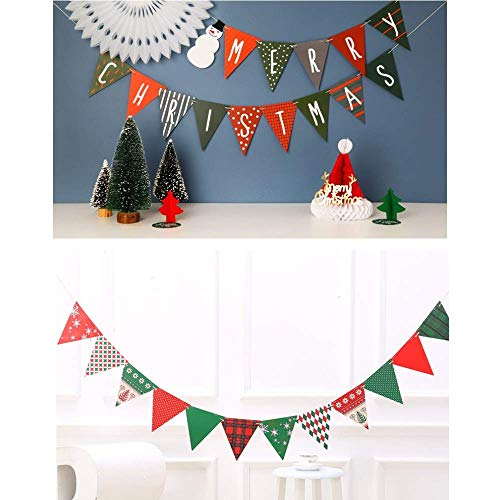 Feliciay 3 Pieces Pennant Banner Christmas Triangle Bunting Flag Banners Garland for New Year Party Celebrations Decorations Snowman Paper Xmas Fireplace Door Wall Window Holiday